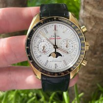 Omega Yellow gold Automatic Silver pre-owned Speedmaster Professional Moonwatch Moonphase