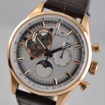 Zenith El Primero Chronomaster pre-owned 45mm Silver Moon phase Chronograph Date Leather