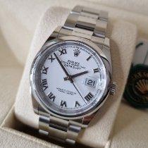Rolex Stal Automatyczny Biały Rzymskie 36mm nowość Datejust