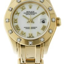 Rolex Lady-Datejust Pearlmaster Or jaune 29mm Blanc Romains