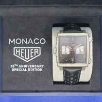 TAG Heuer Monaco Calibre 11 pre-owned 39mm Black Chronograph Calf skin