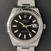 Rolex Steel Automatic Black No numerals 41mm pre-owned Datejust II