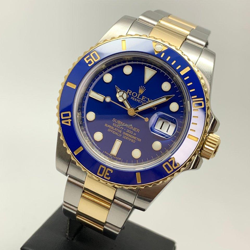 Rolex Submariner Date 40mm FLAT BLUE SMURF Gold Steel Ceramic FULL SET LC EU MINT