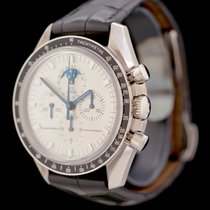Omega White gold Manual winding Silver No numerals 42mm pre-owned Speedmaster Professional Moonwatch Moonphase
