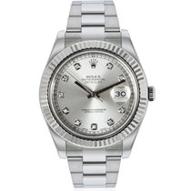 Rolex White gold Automatic Silver No numerals 41mm pre-owned Datejust II