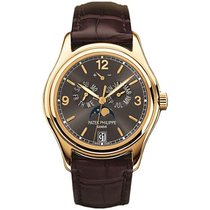 Patek Philippe Annual Calendar pre-owned 39mm Black Moon phase Date Leather