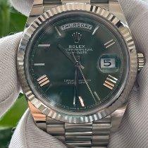 勞力士 Day-Date 40 白金 40mm 綠色 羅馬數字