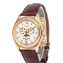 Patek Philippe Annual Calendar pre-owned 39mm Champagne Moon phase Date Month Annual calendar Fold clasp