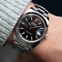 Rolex Datejust Staal 41mm Zwart Geen cijfers Nederland, Damwald