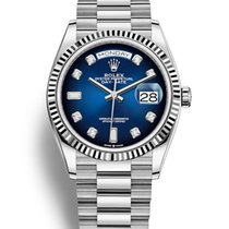 Rolex White gold Automatic Blue No numerals 36mm new Day-Date 36