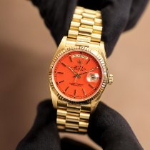 Rolex Day-Date 36 Oro amarillo 36mm Rojo Sin cifras
