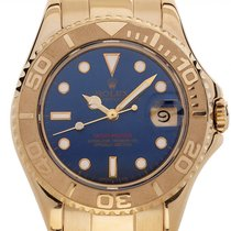 Rolex Yellow gold Automatic Blue 35mm pre-owned Yacht-Master