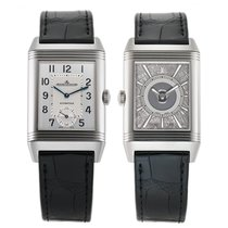 Jaeger-LeCoultre Reverso Duoface pre-owned 28mm Silver GMT Crocodile skin
