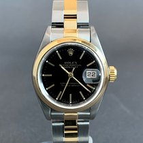 Rolex Oyster Perpetual Lady Date Acero y oro 26mm Negro Sin cifras