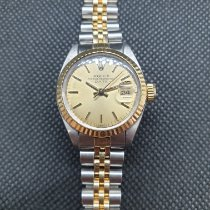 Rolex Oyster Perpetual Lady Date Gold/Steel 26mm Gold No numerals