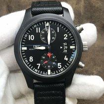 IWC Pilot Chronograph Top Gun usado 46mm Preto Cronógrafo Data Pele