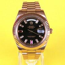 Rolex Day-Date II Or rose 41mm Noir Sans chiffres