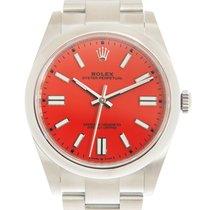 Rolex Oyster Perpetual Acero 41mm Rojo Sin cifras