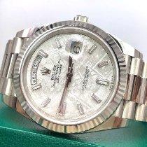 Rolex Day-Date 40 Witgoud 40mm Grijs Geen cijfers