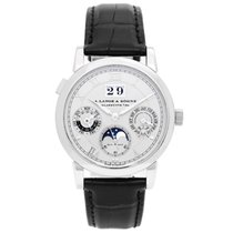 A. Lange & Söhne Platinum Automatic Silver (solid) Roman numerals 38.5mm pre-owned Langematik Perpetual