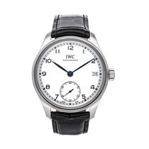 IWC Steel Manual winding White 43.5mm pre-owned Portuguese Hand-Wound