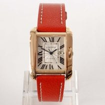 Cartier Red gold Automatic Silver Roman numerals 39mm pre-owned Tank Anglaise