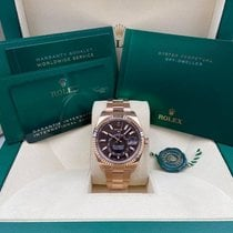 Rolex Rose gold Automatic Brown No numerals 42mm new Sky-Dweller