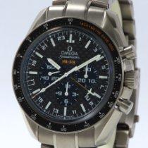 Omega Speedmaster HB-SIA pre-owned Black Chronograph Date GMT Tachymeter Titanium