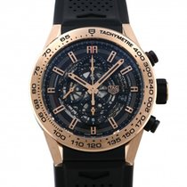 TAG Heuer Red gold Automatic Silver 45mm pre-owned Carrera Calibre HEUER 01