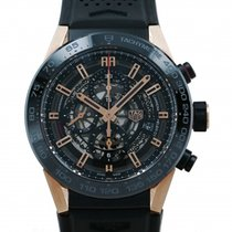 TAG Heuer Red gold Automatic Black 45mm pre-owned Carrera Calibre HEUER 01