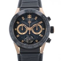 TAG Heuer Red gold Automatic Black 45mm pre-owned Carrera Heuer-02T
