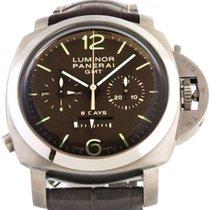 Panerai Luminor 1950 8 Days Chrono Monopulsante GMT nuevo Cuerda manual Reloj con estuche y documentos originales PAM00311