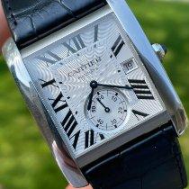 Cartier Tank MC pre-owned Silver Date Crocodile skin