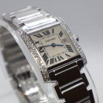 Cartier White gold Quartz Champagne Roman numerals 25mm pre-owned Tank Française
