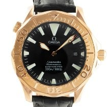 Omega Red gold Automatic Black 41mm pre-owned Seamaster