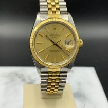 Rolex Oyster Perpetual Date Gold/Steel 34mm Champagne No numerals