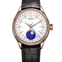 Rolex Cellini Moonphase Oro rosa 39mm Blanco Sin cifras