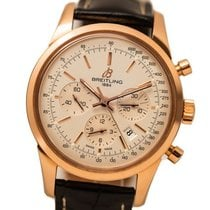 Breitling Transocean Chronograph Rose gold 43mm Silver No numerals