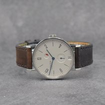 NOMOS Tangente Gangreserve pre-owned 35mm Silver Date Leather