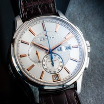 Zenith El Primero Winsor Annual Calendar pre-owned 42mm Silver Chronograph Date Weekday Month Leather