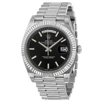 Rolex Day-Date 40 pre-owned 40mm Black Date White gold