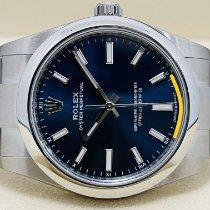 Rolex Oyster Perpetual 34 Stahl 34mm Blau Keine Ziffern