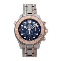 Omega Rose gold Automatic Blue No numerals 44mm pre-owned Seamaster Diver 300 M