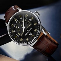 Meistersinger AS902OR Meistersinger Classic Plus Astroscope 40mm Nero Pelle Marrone Stampa Cocco Steel 2021 Circularis 40mm new