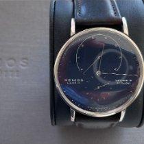 노모스 화이트골드 수동감기 파란색 42mm 중고시계 람브다