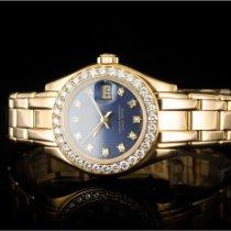 Rolex Lady-Datejust Pearlmaster Желтое золото 29mm Синий Без цифр