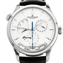 Jaeger-LeCoultre Master Geographic pre-owned 39mm Silver Moon phase Date Perpetual calendar Steel