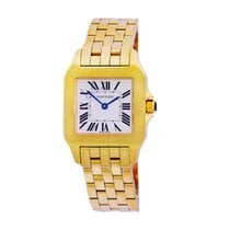 Cartier Yellow gold Silver Roman numerals 27mm pre-owned Santos Demoiselle