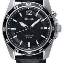 Seiko Steel Quartz Black 42mm new Kinetic