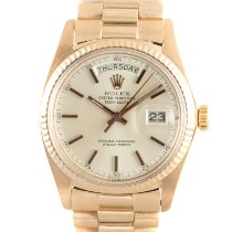 Rolex Red gold Automatic Silver 36mm pre-owned Day-Date 36